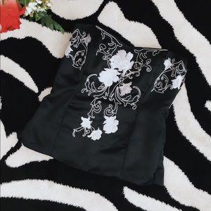 Black & White Floral Strapless Corset Top